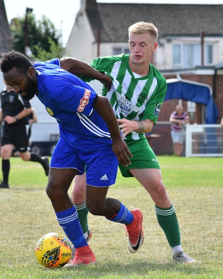 Alfie Connor of Soham Town Rangers during their pre-season friendly defeat at Peterborough Sports. P