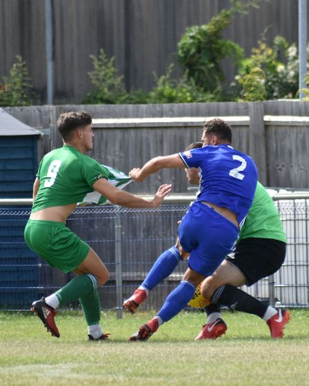 It's getting shirty during Soham Town Rangers' friendly at Peterborough Sports! Picture: JAMES RICHA