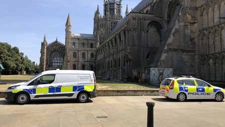 Area around Ely Cathedral cordoned off. PHOTO: John Elworthy