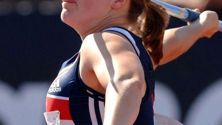 Great Britain and Northern Ireland Womens Athletics Team Captain Goldie Sayers wins the javelin even