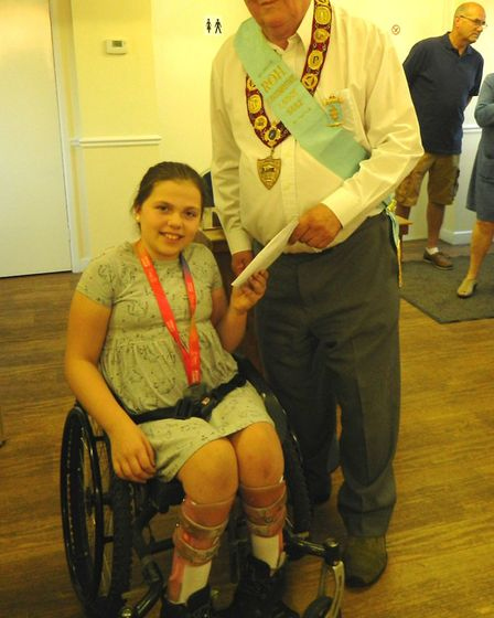 Chloe Lewis (pictured at Buffs) has donated £1,300 to Buffs Locomotive Lodge based at the March Braz