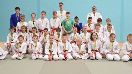 Group picture of all judo players at the Brain Tumour fundraiser in Littleport