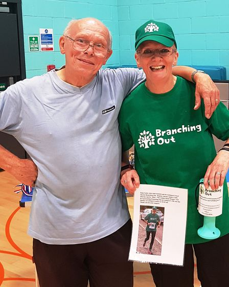 Local runner Harry Coleby with charity runner Cathy Gibb-de Swarte.