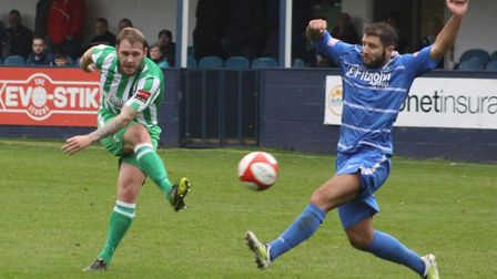 Player-boss Robbie Mason hit the post in Soham Town Rangers' opening day defeat at Heybridge Swifts.