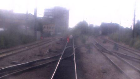 CCTV image shows the scene of the near miss at Peterborough. PHOTO: CCTV courtesy of London North Ea