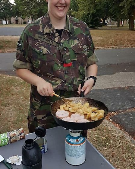 Cadets took part in a 'ready, steady, cook' type challenge to create a meal from scratch. Photo: 109