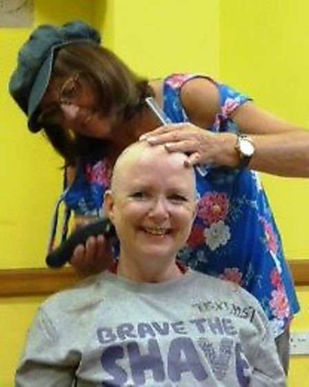 Sally Rose braving the shave in March.