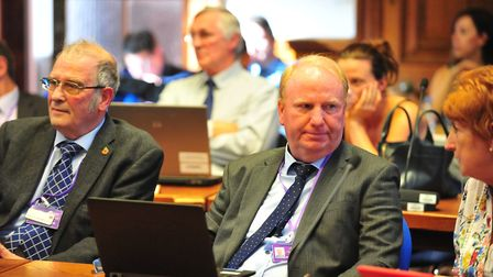 Cllrs Alex Miscandlon (left) and Cllr Steve Count at meeting at Fenland Hall on Thursday, September