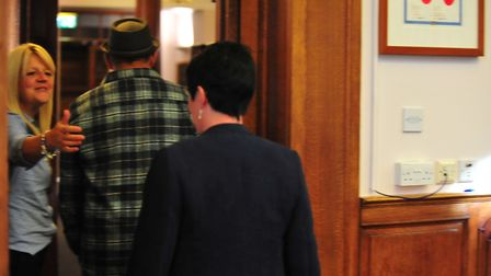 yes, that's right, this is the exit: Heated moment as protestor is asked to leave Fenland Hall on T