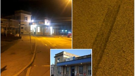 Mr Carpenter took a shot of the station and the tyre marks following the incident. Photo: Phil Carpe