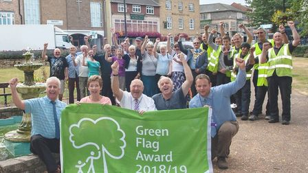 Celebrating 11 years of Green Flag status for St Peter's Church Gardens. Pictured at the front are,