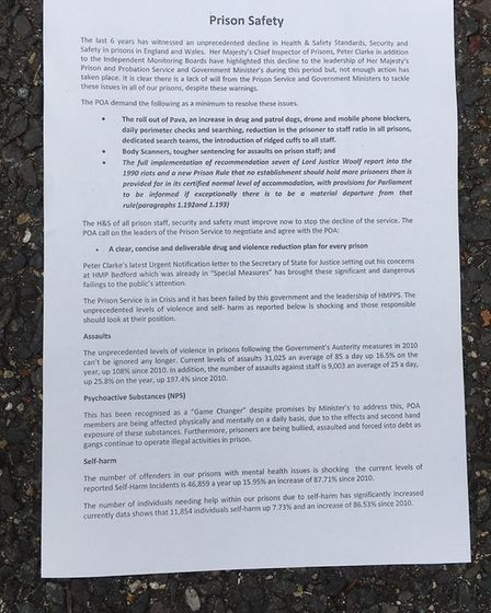 Officers at HMP Whitemoor in March are protesting over safety concerns. This document details what t