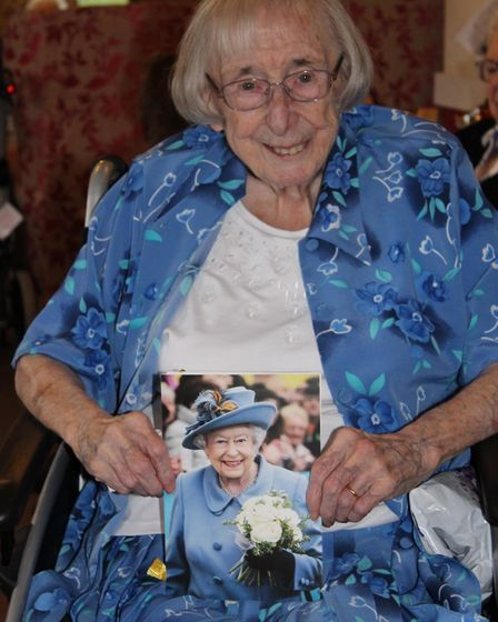 Gwen Wilson at her 100th birthday party at the Gables Care Home in Chatteris.