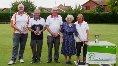 Les Howard Memorial Trophy: Left to right, winners Tony Reed and Stuart Woodcock, Paul Bennett CMB s