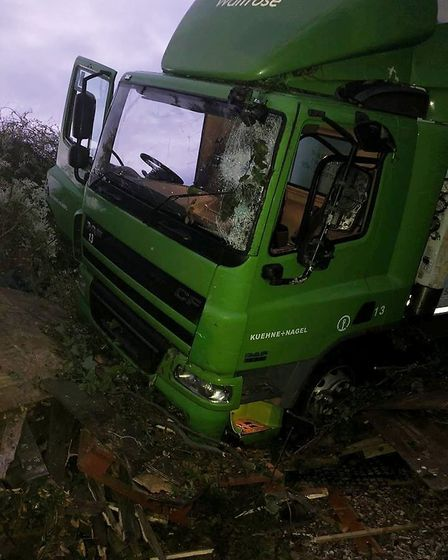 Recovery now under way after a lorry came off the A10 near Southery and crashed into the garden of S