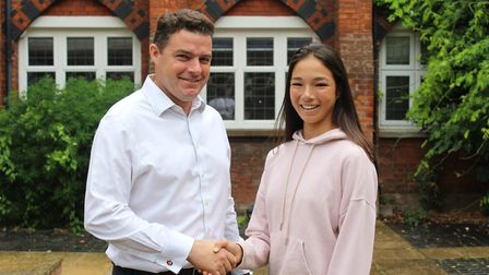 Felsted head master Chris Townsend with high-flyer Emma Jones. Picture: CONTRIBUTED