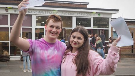 Aaron Cox and his friend celebrate their GCSE results. Picture: CELIA BARTLETT PHOTOGRAPHY