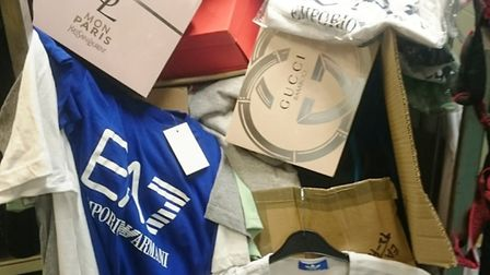 Counterfeit goods seized at car boot sale in Peterborough. Submitted: Peterborough City Council