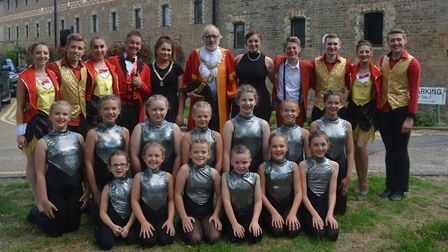 The KD Theatre cast of Summer Spectacular with the Mayor of Ely, Councillor Mike Rouse.