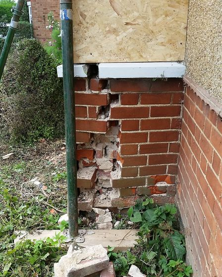 The damage to the house is extensive and will possibly cost thousands to fix. Photo: Submitted