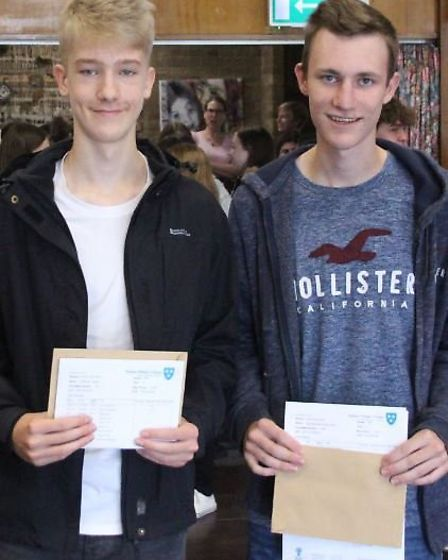 Students from Soham Village College with their GCSE results.