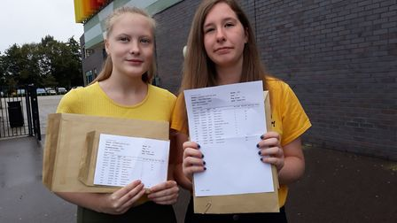 GCSE Results Day 2018: Jess carse (left) Darcy Howe (right) at Neale-Wade Academy with their grades.