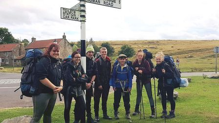Pictured is the team of March cadets at the end of their expedition. From left: Cadet Rebecca Stimso