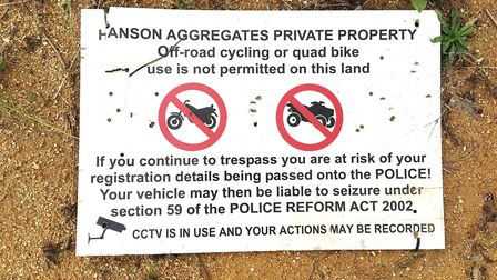 A sign is up ordering people to keep out of the former Motorcross track at Mepal, which was run by o