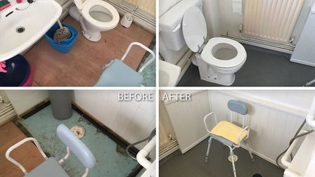 The wet room at Mr and Mrs Bostiks home in March that was left in a dangerous and disgusting state a