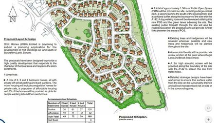 One of the proposed layouts for housing at Soham prepared by Orbit Homes. Their final application ha