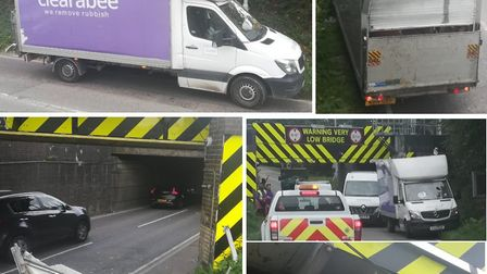 Another vehicle has struck Britain's most bashed bridge in Ely. Picture: Twitter / @RailfutureEA