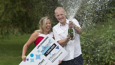 Charlotte and Daniel Peart celebrate their £1M win on 28th August's EuroMillions HotPicks draw, Pete