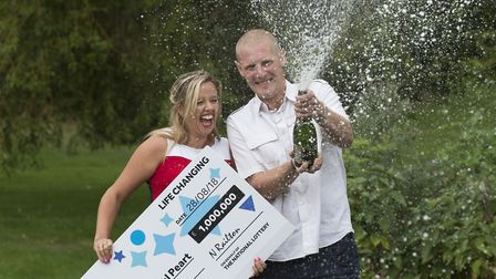 Charlotte and Daniel Peart celebrate their 1M win on EuroMillions HotPicks draw, Peterborough.PHOTO: