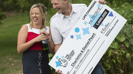Charlotte and Daniel Peart celebrate their £1M win on EuroMillions HotPicks draw, Peterborough.PHOTO