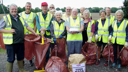 Leverington Street Pride volunteers totting up 1,000 bags of rubbish. Photo: Submitted