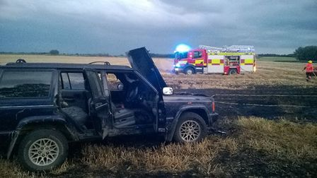 Hare coursers left one of their vehicles after it caught fire when leaving Ely – police are investig