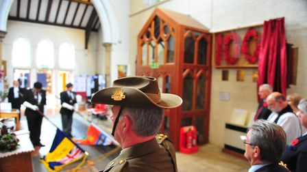 HRH The Duke of Gloucester at The Parish Church of St Augustine in Wisbech unveiling a Great War mem
