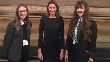 Last years debating competition final winners, Katie from Soham Village College and Ellen from Ely C