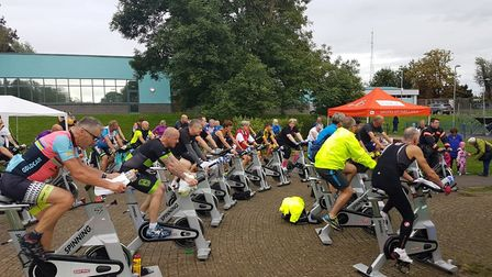 Sunset spinning class raises £1,000 for MAGPAS at George Campbell Leisure Centre in March.