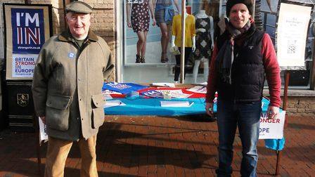 Geoffrey Woollard at the stay in Europe campaign stall