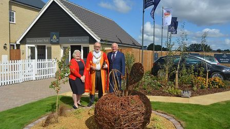 Mayor of Ely Councillor Mike Rouse proudly unveiled the sculpture outside the development. Submitted