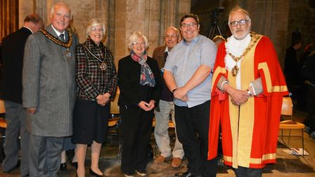 Ely Sinfonia composer Phil Toms, East Cambs District Council chairman councillor Peter Cresswell and