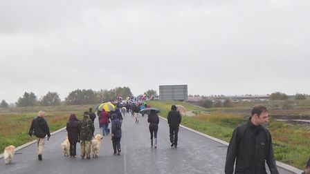 Hundreds took the chance to walk the length of the Ely bypass on Sunday ahead of its official openin