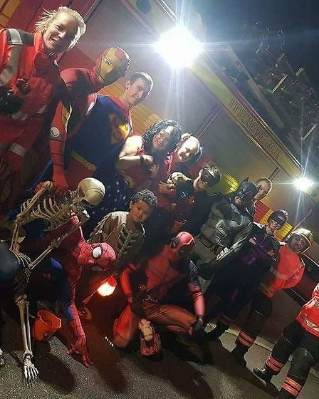 Halloween Heroes take to the town to visit chiildren who cannot go out trick or treating. Picture: D
