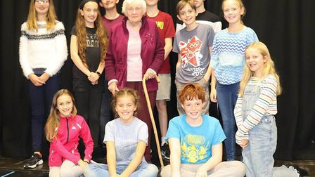 The cast of Viva Soham in rehearsal for Goodnight Mister Tom. The production features local children