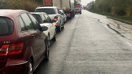 This was the tail back of traffic on the A142 at Mepal on Sunday after a collision near the Block Fe