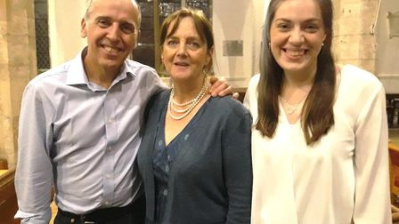 Dr David Donovan with his wife Shirley and optometrist Alanna Carson after a talk in St Wendredas Ch