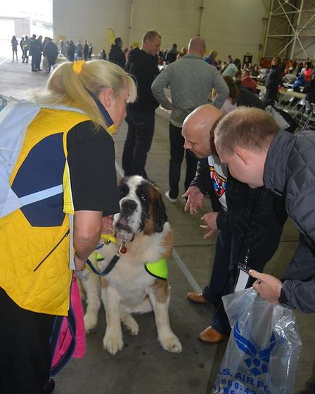 Joan Mann special sports dayat Mildenhall and hosted by the USAF included support from therapy dogs