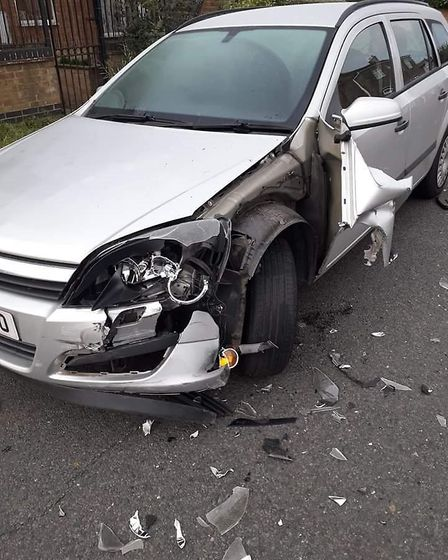 Hit and run in Bassenhally Road, Whittlesey, on Saturday caused extensive damage to this car