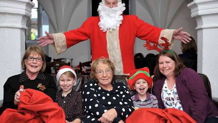 Breakfast with Santa at Almonry Restaurant & Tea Rooms in 2014. Four generations with santa, Left: N